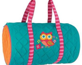 Personalized Teal Owl Quilted Duffle Bag by Stephen Joseph / Personalized Kids Sleep Over Bag / Personalized Kids Weekend Duffle Bag / Gift