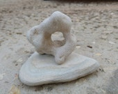 Mini Zen Rock. Holey Stone Altar Decor. Table Display Meditation Rock. Natural Hag Stone on Triangular Beach Stone. Metaphysical Rock Supply