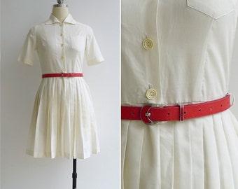 Vintage 50's 'Whipped Cream' Cotton Shirtwaist Dress XXS or XS