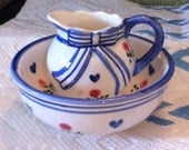 """Pitcher & 3"""" Bowl, Hearts,Flowers,Bow, Excellent Quality,Great Collectible"""