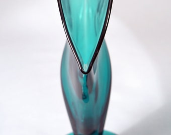 Tall Teal Blenko Art Glass Fan Vase