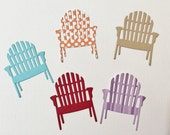 "Handmade, Beach Chairs, Red, Blue. Beige, Orange with White Polka Dots, Purple Striped, Die Cuts, 1 3/4"" tall, 1 1/2"" wide, paper cuts"