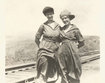 "Vintage Snapshot ""Trestle Twosome"" Train Tracks Bridge Railroad Trestle Pretty Girls Hiking Boots 1920's Found Vernacular Photo"