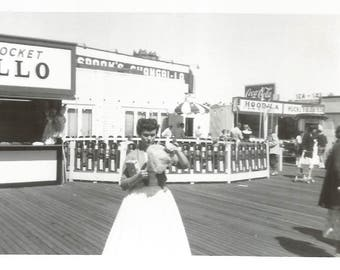 "Vintage Snapshot ""Cotton Candy Mishap"" Teenage Girl Carnival Midway Coca-Cola Sign Found Vernacular Photo"