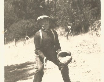 "Vintage Photo ""Graceful Dearheart"" Baseball Player Handwritten Caption Older Man Baseball Mitt Found Vernacular Photo"