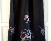 vintage 20s Chinese silk skirt with hand embroidery