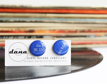 vinyl record cufflinks blue cufflinks valentines gift for him father's gift modern jewelry for him music geek jewelry funky cufflinks