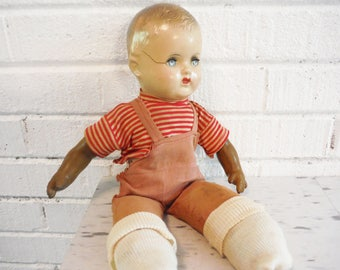 "Needy boy doll,antique boy doll, shabby boy doll, 15""doll, composite doll, moving eyes,red stripes, overalls"