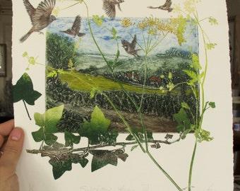 Collagraph mono print. Home for Sparrows Devon Landscape