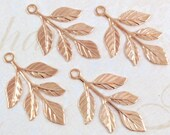 Rose Gold Leaves, Brass Leaf Stamping, Laurel Leaf, Leaf Embellishment, 23mm x 37mm - 4 pcs. (rg175)