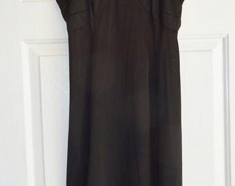 Vintage Slip Black Nylon Slip Nu-Eve Size 36 Full Slip