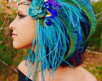 TEAL GODDESS Hair Clip Headdress