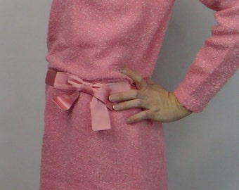 PINK BOUCLE DRESS 1960's jackie kennedy style M