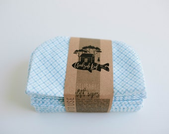 Cloth Diaper Wipes - Family Cloth - Soft  Baby Wipes Cloth Wipes Set of 20 Baby Wipes - Reusable Flannel Wipes (Blue)