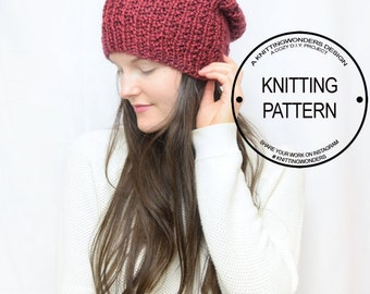 Slouchy Hat Beanie Knitting Pattern / Easy-To-Follow Knit Pattern for Beginners / Instant Digital Download