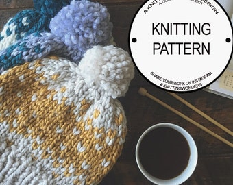 Knitting Pattern for Fair Isle Pom-Pom Beanie Hat With Photos / Instant Digital Download