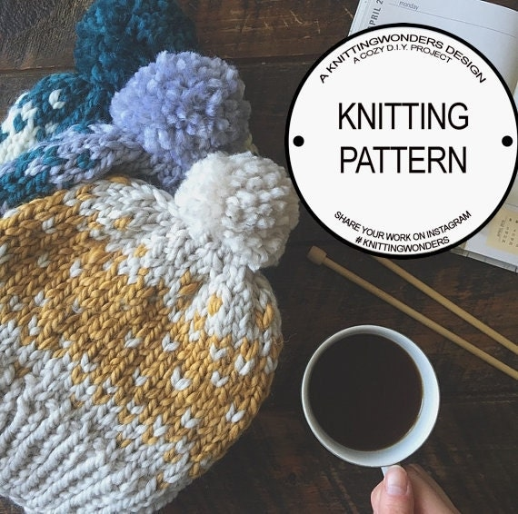 Pom Pom Beanie Knitting Pattern : Knitting Pattern for Fair Isle Pom-Pom Beanie by KnittingWonders