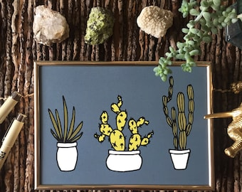 Cactus, Cacti Wall Art - Slate Grey, Green, White Planters; Succulents, Plants, Wall Art; 5x7, 8x10 Digital Print