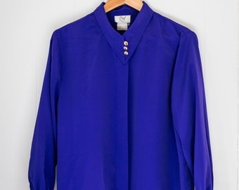 Women's vintage blouse / purple / collar / small - medium