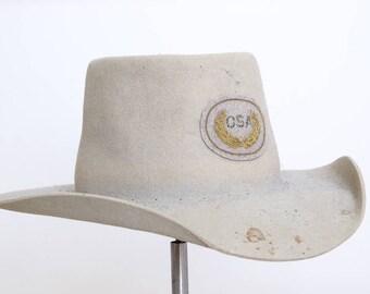 Vintage Distressed White Western Hat CSA Civil War Repro Ivory Wool Wide Brim Western Hat