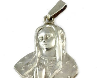 Vintage Catholic Religious Jewelry - Sterling Silver Virgin Mary Medal - Made in Mexico