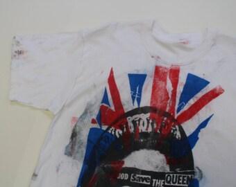 Vintage Punk Tshirt - Sex Pistols  God Save The Queen Union Jack-Ink splats - Seditionaries Medium 38