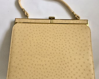 Vintage 1960s Stylemark Ivory Beige Faux Ostrich Handbag Purse New Old Stock