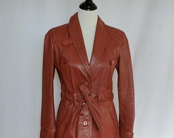 Vintage Rust Leather Trench