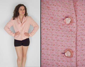 Pink TWEED Blazer Neiman Marcus Wool Blend Clear Rose Buttons Size Small