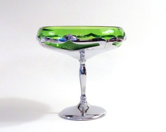 Footed Chrome and Green Glass Compote