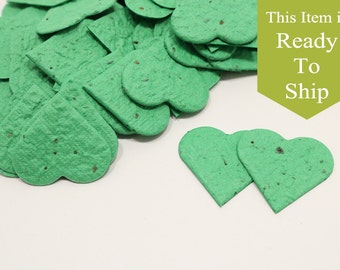 Emerald Green Plantable Seed Paper Confetti Hearts - READY-TO-SHIP - Wedding Favors, Bridal Shower Favors, Baby Shower Favors, Party Gifts