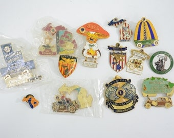 13 Michigan Lions Club Pin Lot; Detroit, Automobile, Shelby, Oldsmobile, Turn of the Century, Car, Bicentennial, Guide Dogs for the Blind