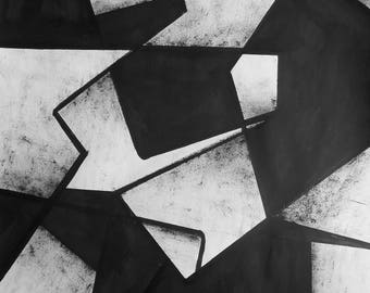 "A2 Original Hand Painted Minimal Abstract Black and White Ink Wash Painting 16.5x23.4 ""Untitled 2099"""