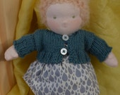 little blond freckled doll, waldorf doll, dress up doll, 8 inch doll