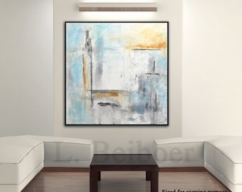 Painting original abstract square large painting blue white acrylic painting abstract modern art by L.Beiboer