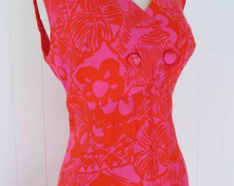 60's Hot Pink and Red Hawaiian Dress Flower Power Maxi Floral Full Length Caftan Malihini Designer Hawaii M L