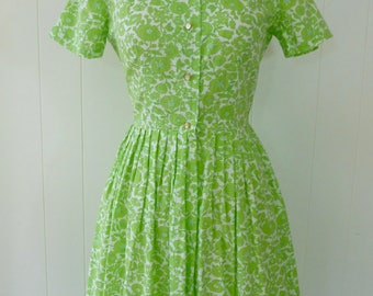 50's Lime Green Floral Shirt Dress Crisp Cotton Button Front Full Skirt Fit and Flare Shirtdress XS S