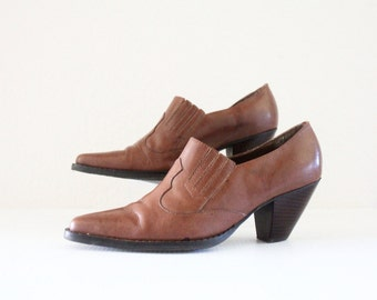 Vintage Bourbon Leather Ankle Boots Sz 7