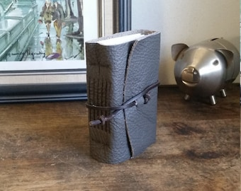 Chunky Leather Journal, Gray Hand-Bound 3 x 4.5 Journal by The Orange Windmill on Etsy 1718