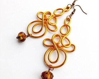 Golden Orange Earrings Lightweight Wire Jewelry
