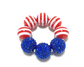 Toddler or Girls Patriotic Chunky bracelet - Red, White and Blue Chunky Bracelet - Girls Fourth of July Bracelet - American Flag Bracelet