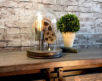 Accent Table Lamp Vintage Film Reels