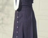 Black dotted dress, Foxy Lady, Joseph Magnin, 1970s dress, bust 38 dress, 1930s style,  button front dress, gusset skirt