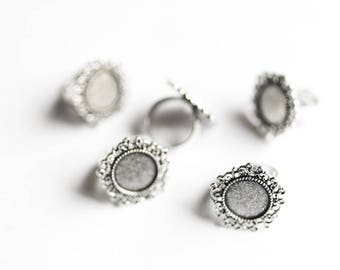 10 Silver Rings - Holds 14mm Cabochons - Vintage - 24mm - Adjustable - Antique Silver - Ships IMMEDIATELY from California - A523a