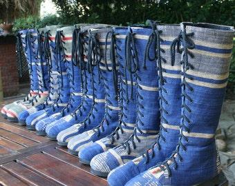 Vegan Womens Boots In Blue Hand Woven Naga Textiles, Boho Boots - Sadie, FREE Shipping Worldwide