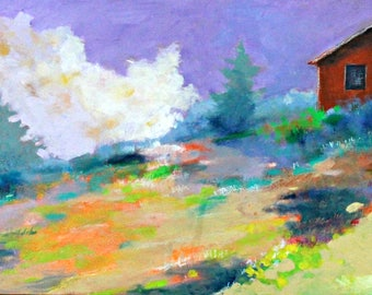 "Horizontal Abstract Landscape Painting, Colorful Loose Brushstrokes, Wildflowers, Country Scene, ""Afternoon Peace"" 12x24"""