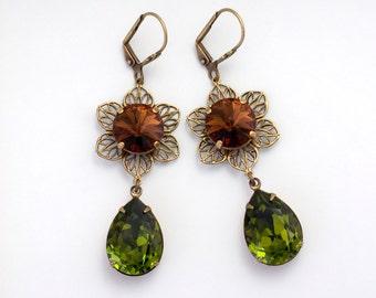 Olive Green Rhinestone Earrings, Antiqued Brass Jewelry, Brown Rhinestone Drop Earrings, Green Crystal Earrings Brown Crystal Jewelry, Erica