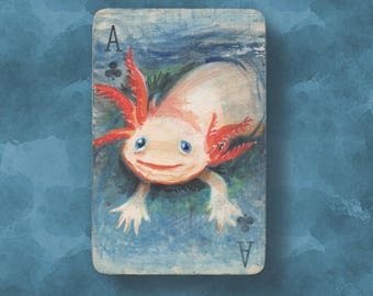 Axolotl original art ACEO / altered vintage playing card. The Ace of Clubs with a miniature painting of a smiling salamander!