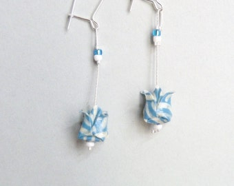 Blue and white Lotus flower Origami earrings