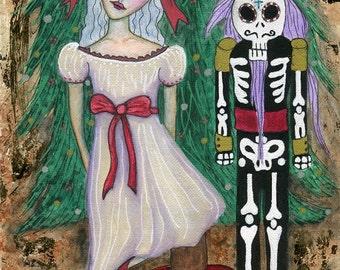 Christmas Art ORIGINAL 5.5x8.5 watercolor on paper // Nutcracker, Clara, Day of the Dead, sugar skull nutcracker, christmas tree, red bow